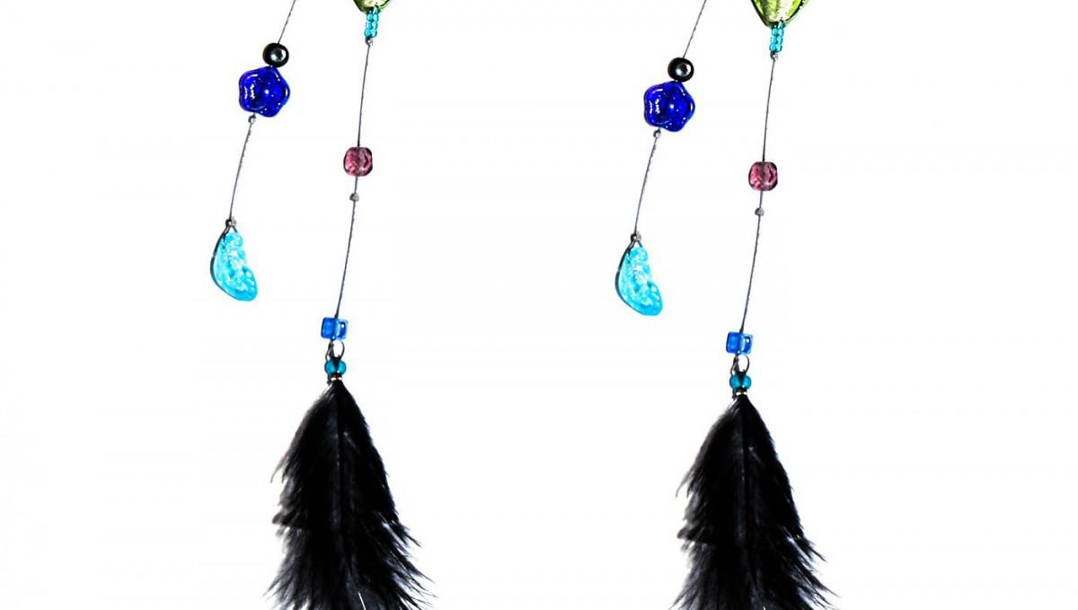 boucles longues perlées avec plume